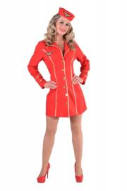 Stewardess jurkje classy rood