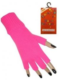 Vingerloze handschoenen roze fluor