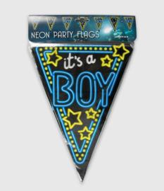Vlaggenlijn neon 10 meter   Geboorte boy