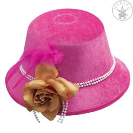 Bloemen en veren dameshoed  Neon pink
