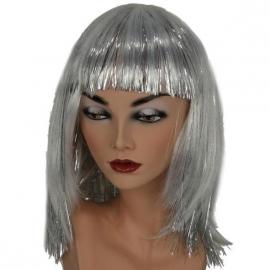 Witte pruik met zilveren glitters