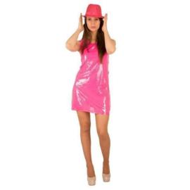 Neon pink pailletten jurkje