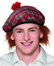 Schotse baret tartan rood