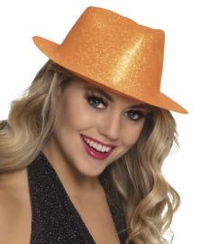 Hoed sparkle neon oranje
