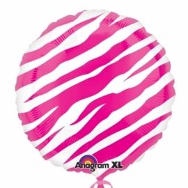 Ronde folieballon pink zebra excl. helium