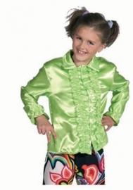 Satijnen roezel blouse lime groen