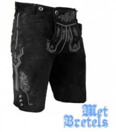 Zwarte lederhose Gustav leer