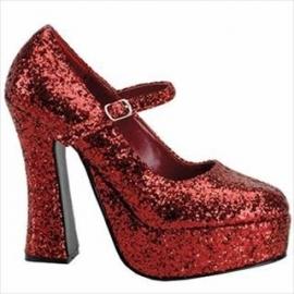 Damesschoen 70`s disco rood