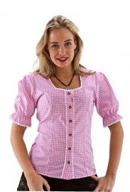 Trachten blouse roze en wit