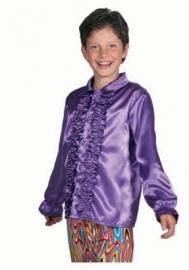 Satijnen roezel blouse paars