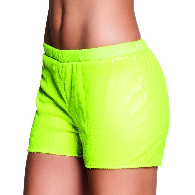 Hotpants sequins neon geel