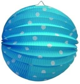 Blauw met stippen lampion rond 23cm