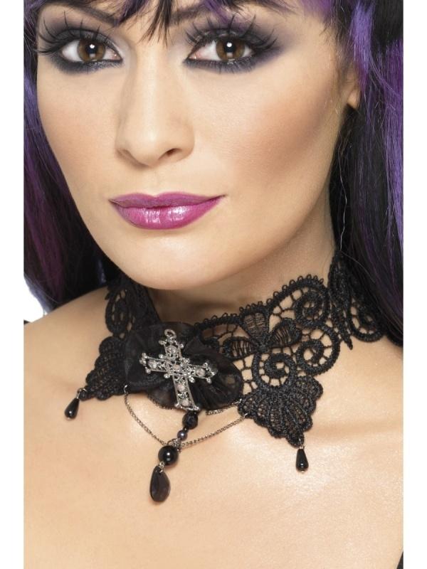 Halsketting zwart gothic