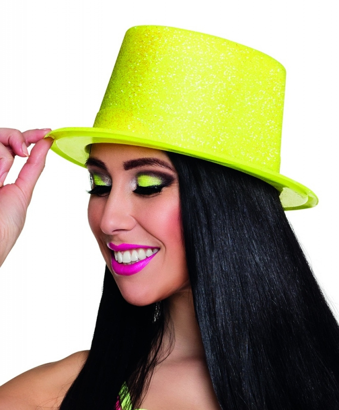 Hoge hoed glitter neon geel
