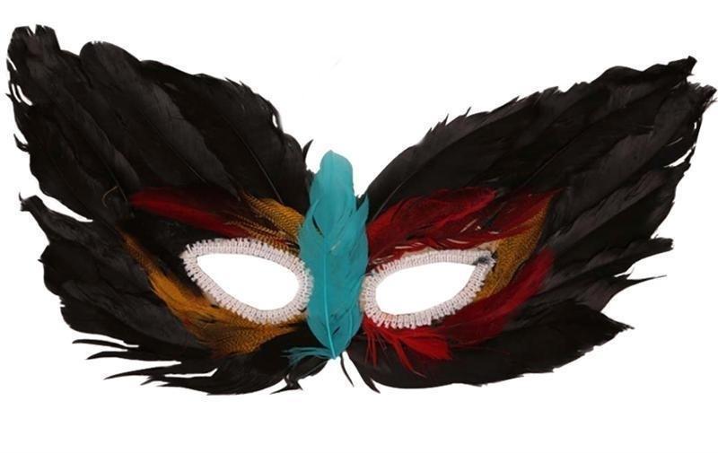 Oogmasker zwart veren
