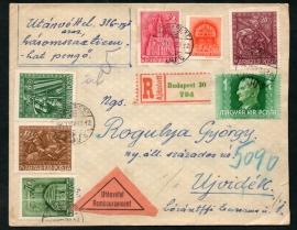 Hongarije. Aangetekende brief met 15 zegels uit 1923. Aangetekend Budapest.
