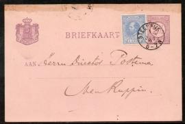 G - Briefkaart met bijfrankering en kleinrondstempel STEENWIJK naar het buitenland. Met plaatfout 19 P1.
