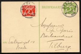 G - Briefkaart met bijfrankering met kortebalkstempel BREDA naar Tilburg.