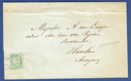 Briefomslag met langstempel SOMMELSDIJK en kleinrondstempel DIRKSLAND  naar HAARLEM.