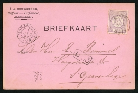 Firma briefkaart ASSEN 1892 met kleinrondstempel ASSEN naar 's GRAVENHAGE.