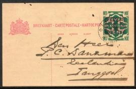 G - Briefkaart met langebalkstempel TANGGOEL.