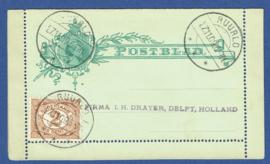 Postblad G 4 met bijfrankering met langebalkstempel RUURLO naar DELFT.