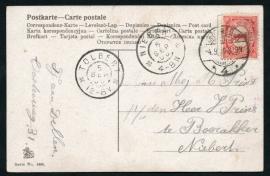 Briefkaart met langebalkstempel / Martinstempel GRONINGEN en grootrondstempel TOLBERT naar  NIEBERT.