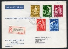 Cover Filatelistische Dienst idem afstempeling met serie kinderzegels 1962. (Aangetekend en FDC).