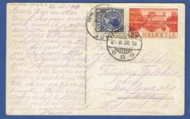 Briefkaart met internationale frankering. Nederland en Zwitserland. 1938.
