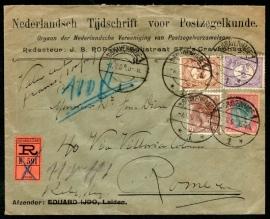Firma cover 's GRAVENHAGE 1906 met langebalkstempel `s GRAVENHAGE naar Rome. Aangetekend en met lak verzegeld.