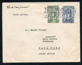 Cover met Willibrordus zegels 1939 van `s GRAVENHAGE naar Zuid-Afrika. Eerste dag afstempeling.