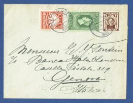 Cover met mengfrankering met kortebalkstempel SCHEVENINGEN naar Italië. Jubileum 1913 en Kinderzegel.