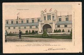 GRONINGEN, Groet van Groninger tentoonstelling van Nijverheid en Kunst 1903. Gelopen kaart.