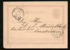 G - Briefkaart met 2-letterstempel BEVERWIJK naar AMSTERDAM.
