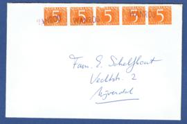 WANROIJ op cover naar Nijverdal. Frankering uit postzegelboekje 14 of 19.
