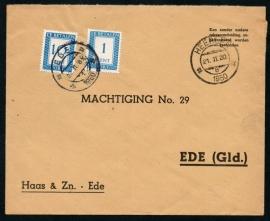 Cover met kortebalkstempel HEERLEN naar EDE.