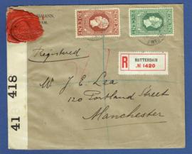 Censuur cover van ROTTERDAM naar Manchester, Engeland. Jubileum 1913. Aangetekend. Censuurstrook met lak verzegeld.
