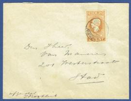 Cover met jubileum 1913 met langebalkstempel AMSTERDAM-CENTR.STATION. Lokaal verzonden.