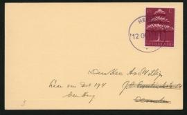 Briefkaart met noodstempel HEYEN naar Den Haag.
