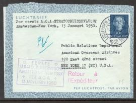 Eerste Stratocruiservlucht AMSTERDAM - NEW YORK per A.O.A. 13 Januari 1950.