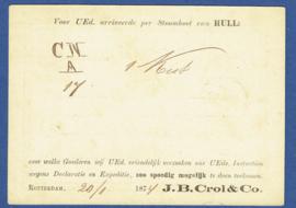 Particulier postwaardestuk ROTTERDAM 1874, J.B. Crol & Co. ROTTERDAM naar AMSTERDAM per Stoomboot van HULL.