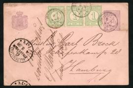 G - Briefkaart met bijfrankering met kleinrondstempel DEVENTER naar Duitsland.