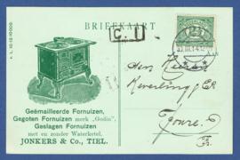 Firma briefkaart TIEL 1914 met langebalkstempel TIEL naar Joure. Geïllustreerd.