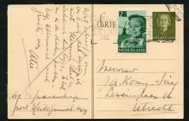 G - Briefkaart met bijfrankering (kinderzegel) met vlagstempel 's GRAVENHAGE naar Utrecht.