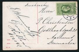 Briefkaart met jubileum 1913 en langebalkstempel GOUDA naar Denemarken. Eerste dag afstempeling.