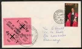 Jersey. Postal Strike cover. Van Jersey naar Geurnsey. 1971.