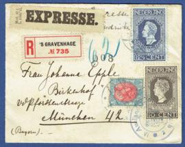 Aangetekende Expresse cover met censuur met jubileum 1913 van 's GRAVENHAGE naar Munchen, Duitsland.