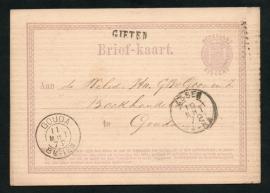 G - Briefkaart met langstempel GIETEN en 2-letterstempel ASSEN naar GOUDA.