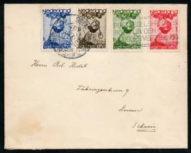 Cover met kortebalkstempel en vlagstempel `s GRAVENHAGE naar Luzern, Zwitserland.