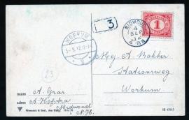 Briefkaart met kleinrondstempel MIDWOUD naar WORKUM. Op ansichtkaart HOORN, Ramen.